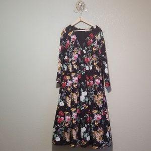 eShakti  2x 20w  Floral hummingbird dress